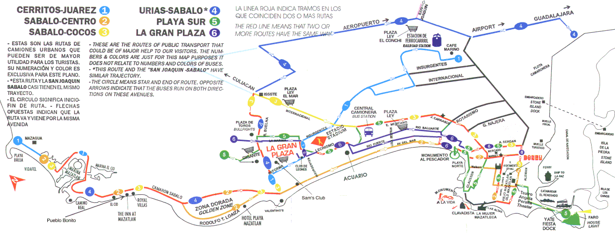 A map of the bus routes of Mazatlan. Six different routes are featured, and the map covers a large area.