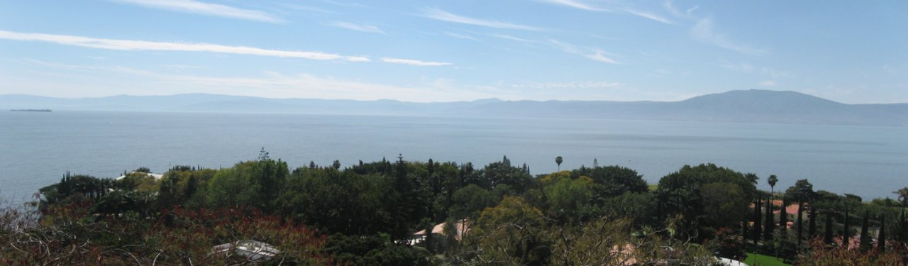 A panoramic view of Lake Chapala, as seen from our back yard